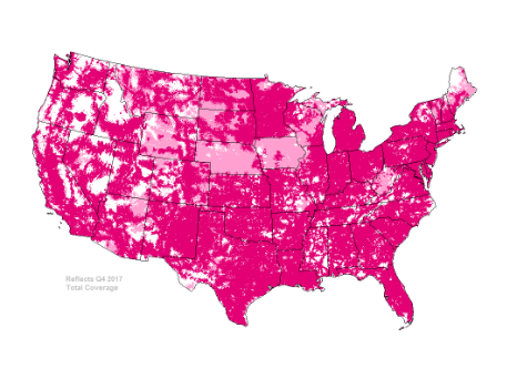T-Mobile 4G LTE Network Coverage Map